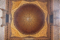 Ceiling inside of Alhambra in Grenada Spain