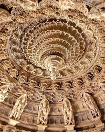 Ceiling of The Dilwara Jain temple built in AD in Rajasthan India