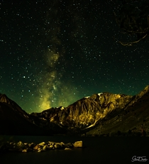 Celebrating International Dark Sky Week with a moonlit mountain lake and Milky Way in the Eastern Sierra mountains