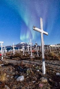 Cemetary with Aurora Borealis Nuuk Greenland