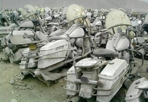 Cemetery of police motorcycles Harley-Davidson they were owned by the National Police of Puente Piedra Lima Peru