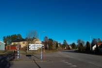 Central crossroads in village of Pryd Sweden