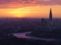 Central London at sunset - from the Docklands