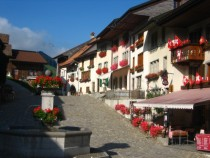 Central square in the fortified village of Gruyres Switzerland