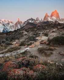 Cerro Torre and Fitz Roy in the first sunlight of the day