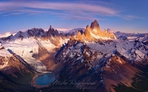 Cerro Torre and Mount Fitzroy massifs  the Andes