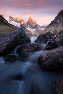 Cerro Torre catching the first light of dawn Patagonia Argentina OC x