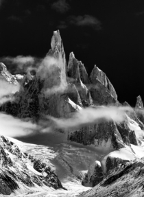 Cerro Torres through the clouds Patagonia in Black and White  x