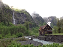 Chalet in the Enchanted Valley WA Will soon be lost to the Quinalt River
