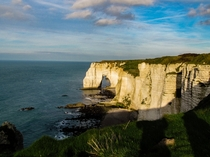 Chalk cliffs in Normandy Etretat France