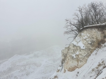 Chalk mountains in winter fog - Storozhevoe Voronezh Russia