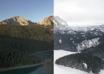 Change of seasons at Durmitor mountain Montenegro  months and  days between these shots