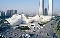 Changsha Meixihu International Culture and Art Centre beside Meixi Lake in Changsha capital of Hunan province China architected by Zaha Hadid Architects due for completion presently