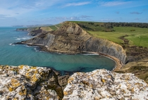 Chapmans Pool from Emmetts Hill Dorset England By Ian Perkins