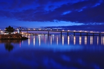 Charles M Braga Jr Bridge Spanning the Taunton River in Fall River MA with the Mt Hope Bridge in the Far Background  - Photographed by R Fazio