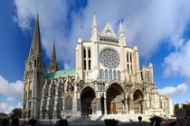Chartres Cathedral in Chatres France considered one of the finest examples of French Gothic architecture and is a UNESCO World Heritage Site