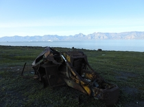 Chaseside Loadmaster  abandoned and mangled by a tsunami at Qullissat Disko Island Greenland