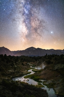 Chasing the Milky Way in the Eastern Sierras Hot Creek CA oc