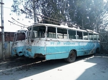 Check out this abandoned electric bus in Kathmandu Nepal that reads I am the Future in Nepali