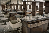 Chemistry lab in abandoned university in Belgium  by Rebecca Litchfield