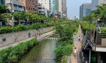 Cheonggyecheon a -mile long stream that runs through Seoul South Korea