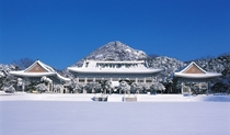 Cheongwadae South Korean presidential residence during the winter
