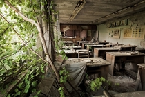 Chernobyl Today abandoned classroom with nature slowly taking over Photo by Gerd Ludwig
