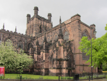 Chester cathedrals construction dates from between  and the early th century and all the major styles of English medieval architecture from Norman to Perpendicular are represented in the present building