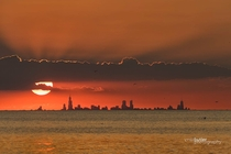Chicago at sunset as viewed from across Lake Michigan x - Barry Butler Photography
