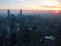 Chicago at sunset View from the John Hancock Observatory