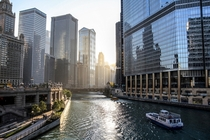 Chicago cityscape from the river by Dara Pilyugina