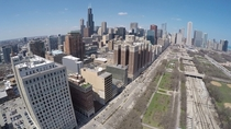 Chicago downtown and Grant Park - Taken from a UAV