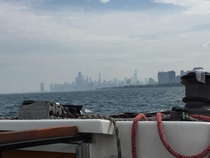 Chicago from a sailboat on Lake Michigan