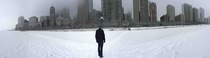 Chicago from the frozen shores of Lake Michigan