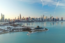 Chicago IL from above Adler Planetarium and Lake Michigan Photo by Symbiosis on Flickr