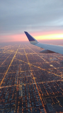Chicago Illinois from a commercial flight