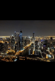 Chicago Illinois on a helicopter tour at night