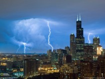 Chicago in a lightning storm