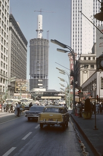 Chicago in the s with the Marina City buildings under construction
