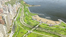 Chicago is planning major changes to Lake Shore Drive Part of Lake Michigan will be filled in to straighten out a tight bend and provide more park space New grade separated crossings will be provided for pedestrians and cyclists And the at-grade intersect