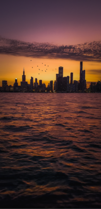 Chicago is such an enchanting city especially at dusk View from Lake Michigan