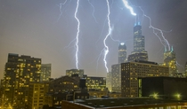 CHICAGO Lightning hitting Sears Willis Tower