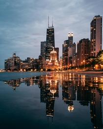 Chicago reflected at North Ave Beach