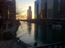 Chicago River-Canyon Sunrise from Dusable Bridge