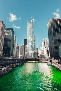 Chicago River dyed green for St Patricks Day