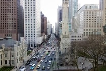 Chicagos Magnificent Mile Michigan Ave viewed from th floor StarbucksUniqlo