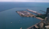 Chicagos Navy Pier calming Lake Michigan