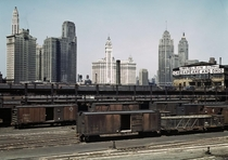 Chicagos skyline with the South Water Street Freight Terminal in the foreground
