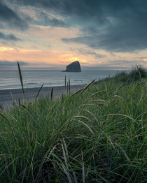 Chief Kiawanda Rock as seen from Green Acres Beach Oregon  IG holysht