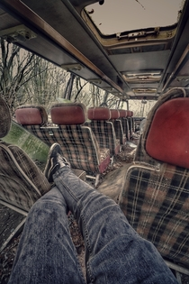 Chilling in an Abandoned Bus in Medlars Scrapyard Very well known area around Norfolk UK I believe very soon these will be discarded and used for parts unfortunately Still managed a few explores here though